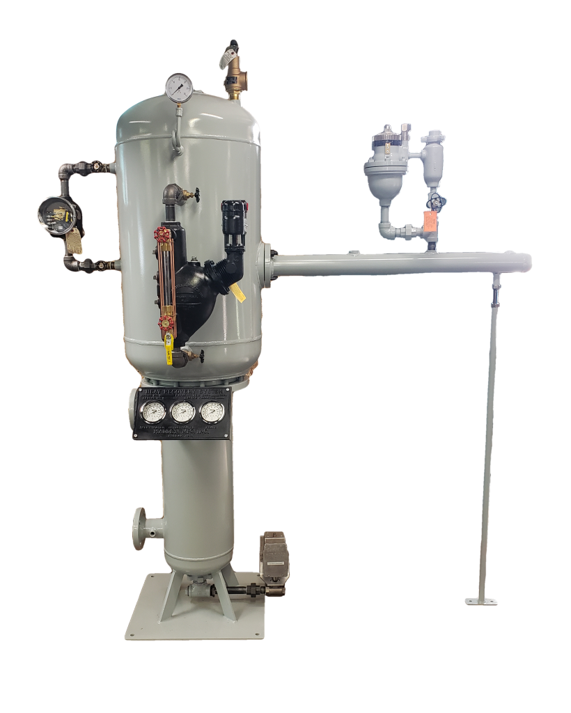Compact vertical heat recovery system with external level controls
